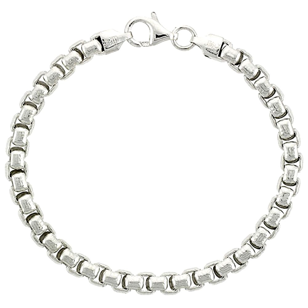 Sterling Silver Round Box Chain Necklaces /& Bracelets 5mm Heavy Mens Nickel Free Italy Sizes 7-30 inch