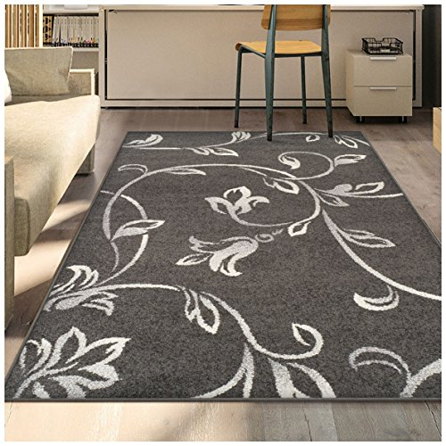 Superior Vine Collection Area Rug, 6mm Pile Height with Jute Backing, Affordable and Contemporary Rugs, Beautiful Floral Vine Pattern - 8' x 10' Rug, Black with ()