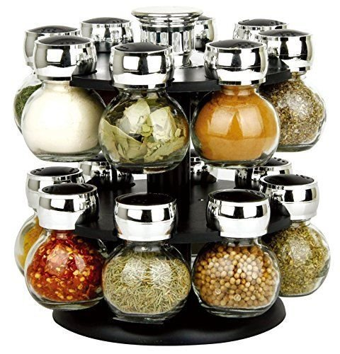 Homezone® Stylish Black Two Tier 16 Jar Rotating Revolving Spice Rack Carousel With 16 Spice Jars.