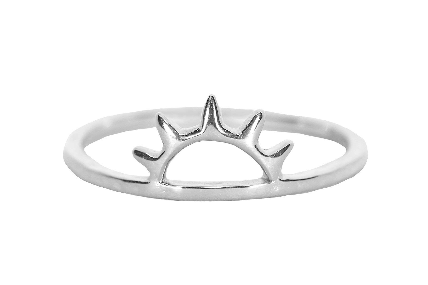 Pura Vida Sunset Silver Plated Ring - Half Sun Design.925 Sterling Silver Band - Size 6 by Pura Vida (Image #1)