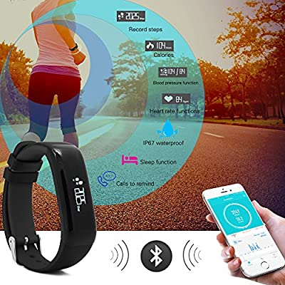 Ammana Fitness Tracker Smart Wristband, App - IP67 Water Resistance/Bluetooth 4.0, Blood Pressure Monitor and Heart Rate Monitor, Compatible with Android and iOS