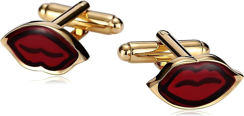 Blisfille Gemelos Novio Boda Gemelos Camisa Hombre Acero Rojo Gemelos Forma de Labios Rojos,Oro Rojo: Amazon.es: Joyería