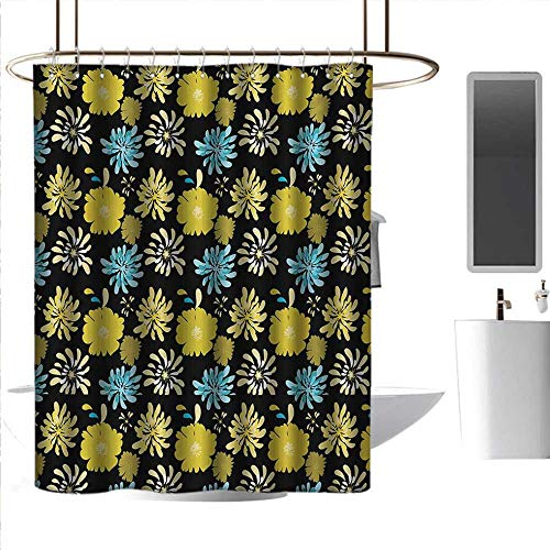 - coolteey Shower Curtains Nature Picture Floral,Jasmine Daisy Peony Spider Mum Spray Different Flower Types Bouquet,Yellow Blue Charcoal Grey,W48 x L84,Shower Curtain for Men