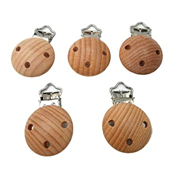 Metal Wooden Baby Pacifier Clips Holders Cute Car Infant Soother Clasps Holders