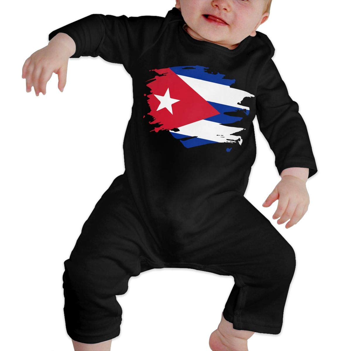 UGFGF-S3 Cuba Paint Splatter Flag Baby Boy Girl Long Sleeve Romper Jumpsuit Toddler Jumpsuit