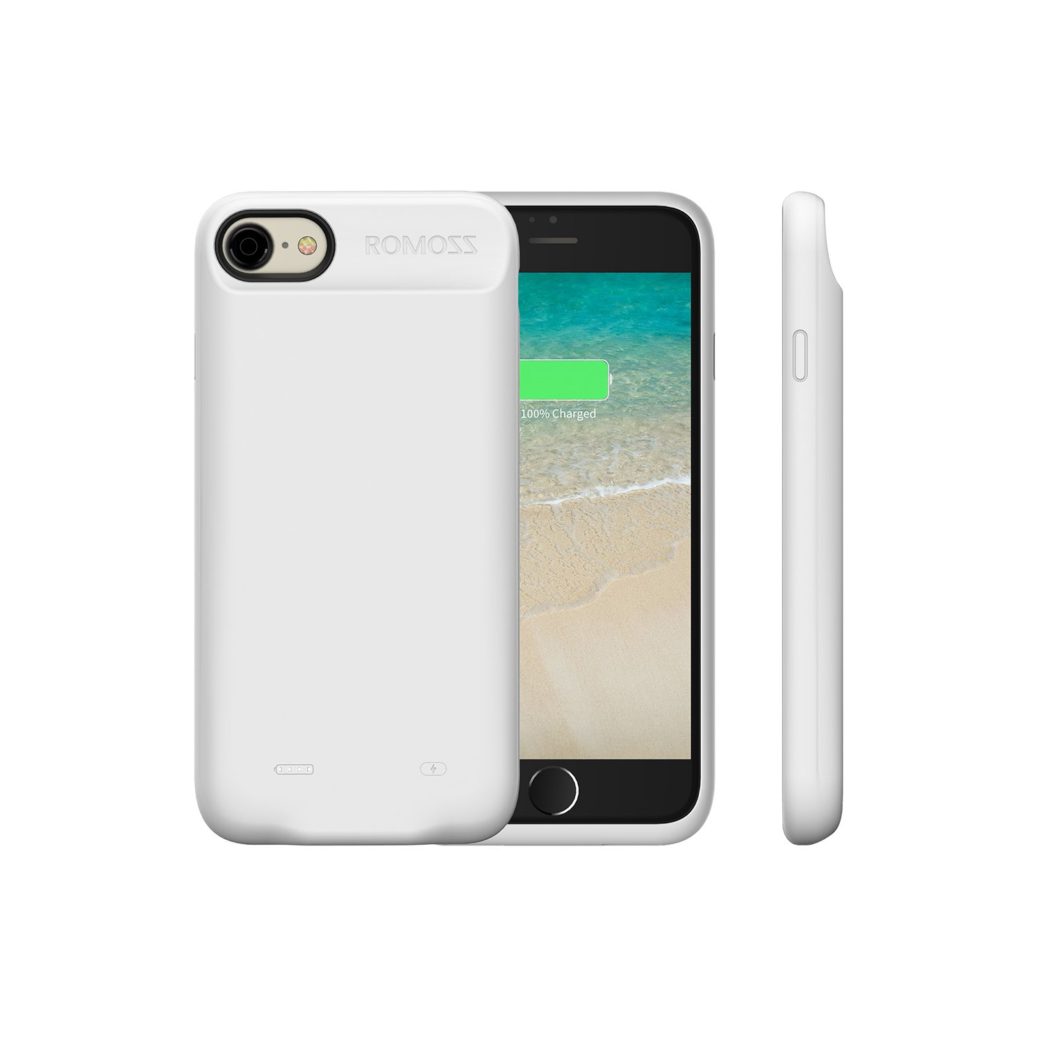 iPhone 7 Battery Case, ROMOSS Encase 7 Ultra Slim Extended Charger Case Cover for iPhone 7 (4.7 inch) 2800mAh Capacity Extra 100% Battery - White