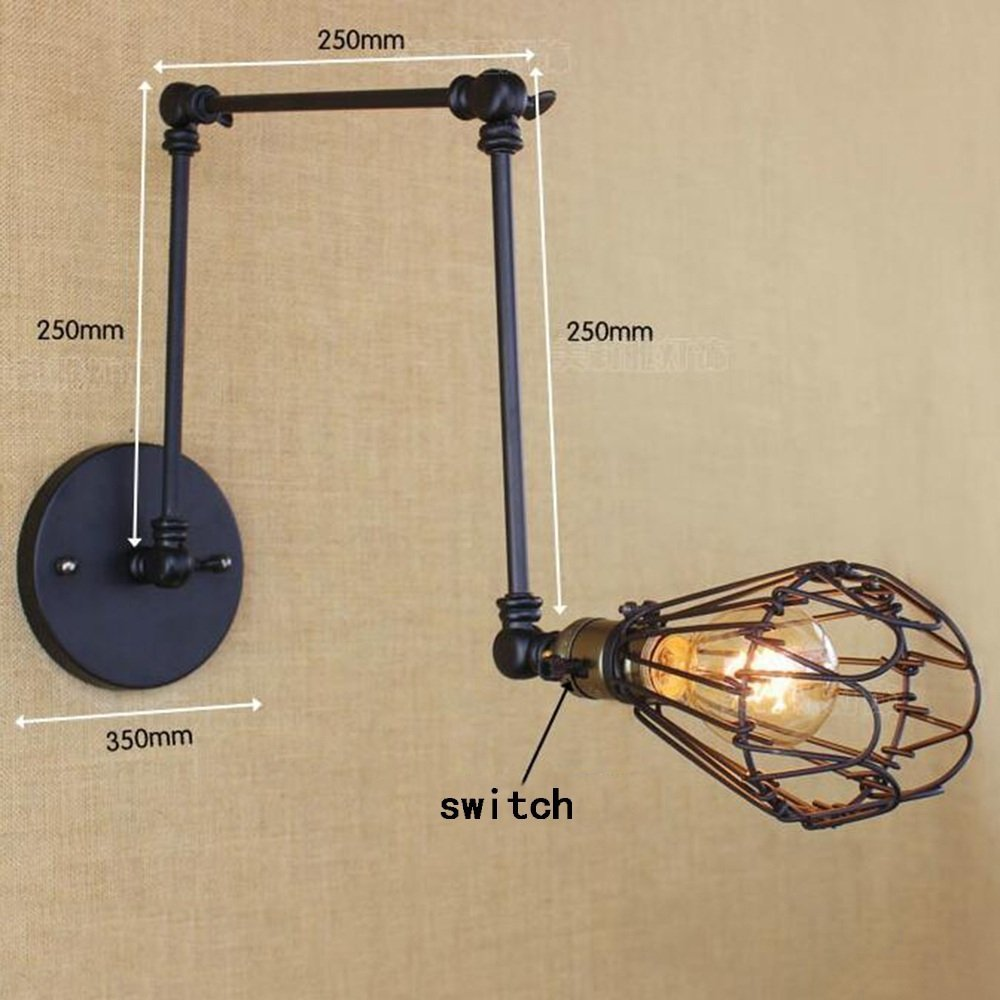 HOMEE Wall lamp- modern american village simple retro creative belt switch long arm art wall lamp bedside study cafe wall lamp --wall lighting decorations
