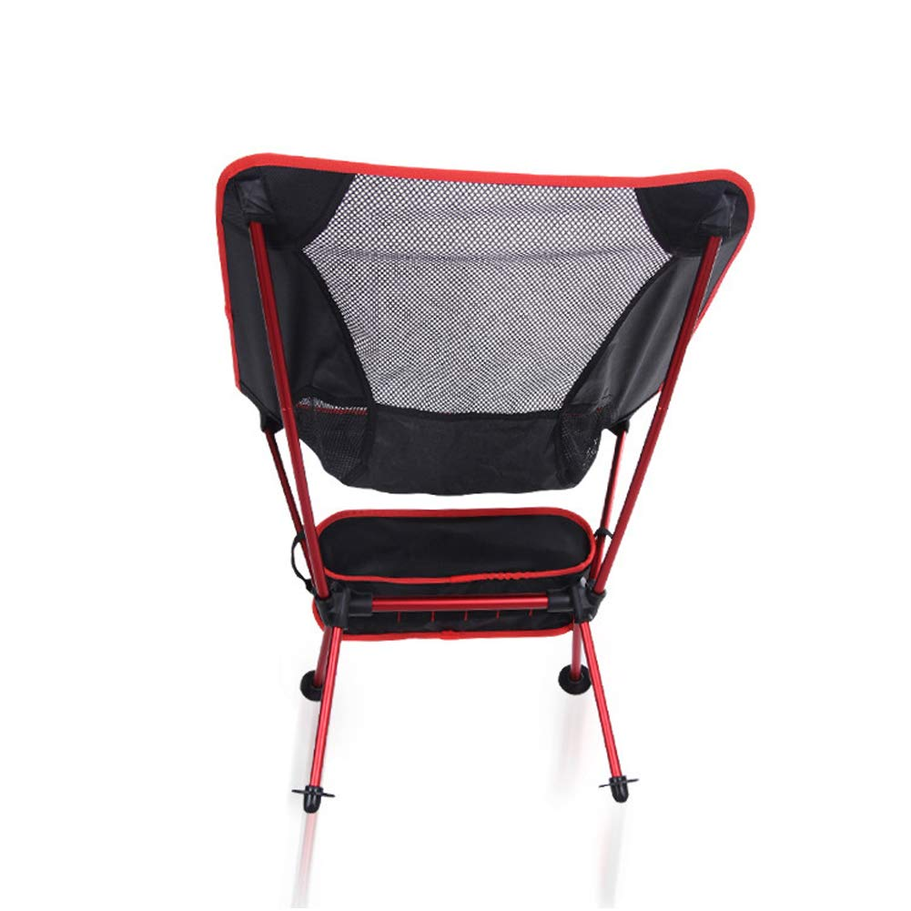 Folding Camping Chair Outdoor Beach Chair Light Backpack Chair with Carrying Bag is Very Suitable for Hiking, Fishing, Picnic-Red