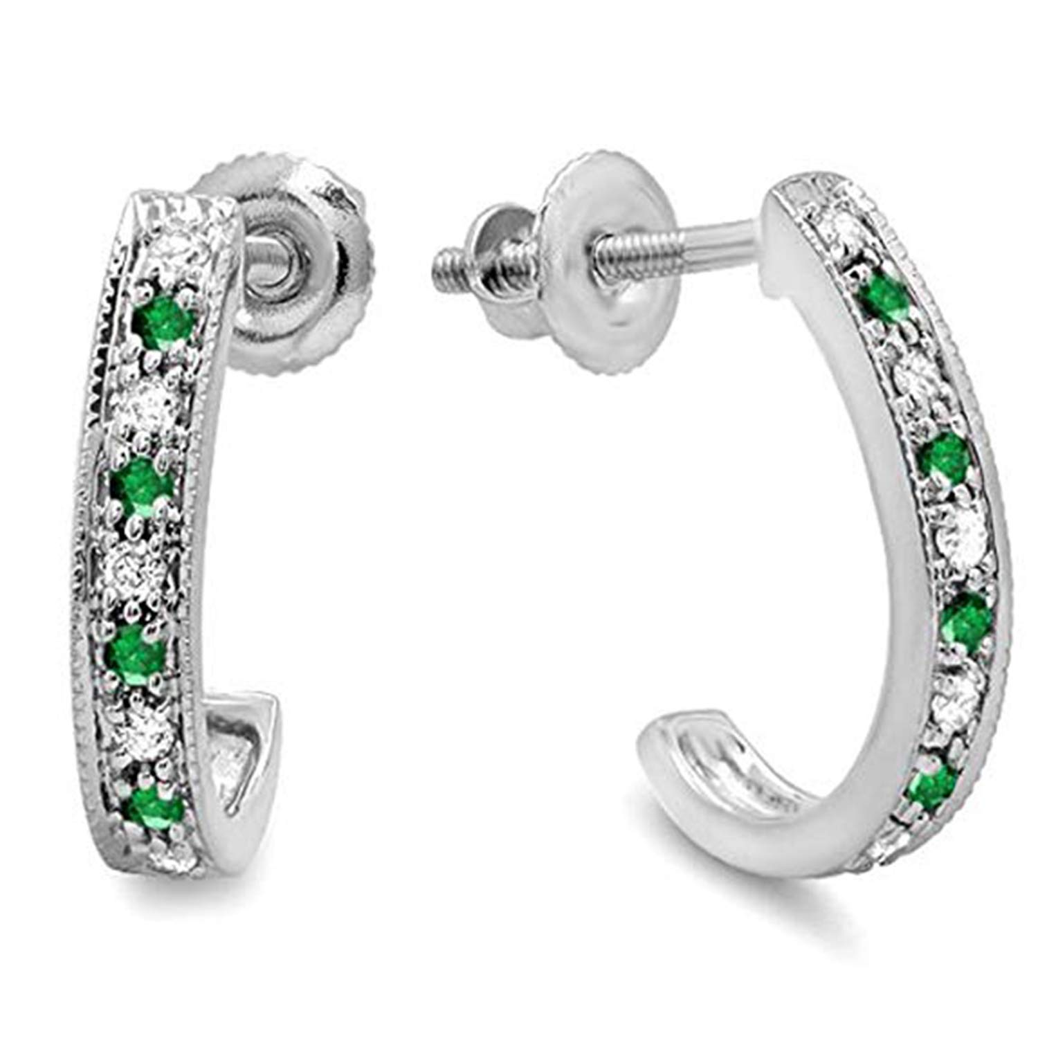 SjSilver Jewels 14K Gold Plated Simulated Diamond Studded Designer Hoop Earrings