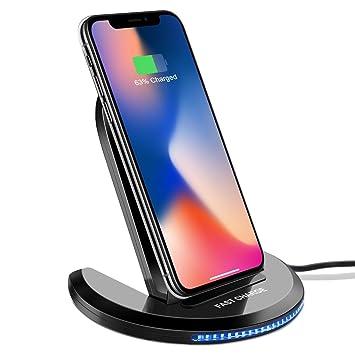 Cargador Inalámbrico Rápido Qi Wireless Quick Charger Carga Rápida 10W y Estándar 5W para iPhone X, iPhone 8 Plus, iPhone 8,Samsung Galaxy S8 Plus,S8, ...