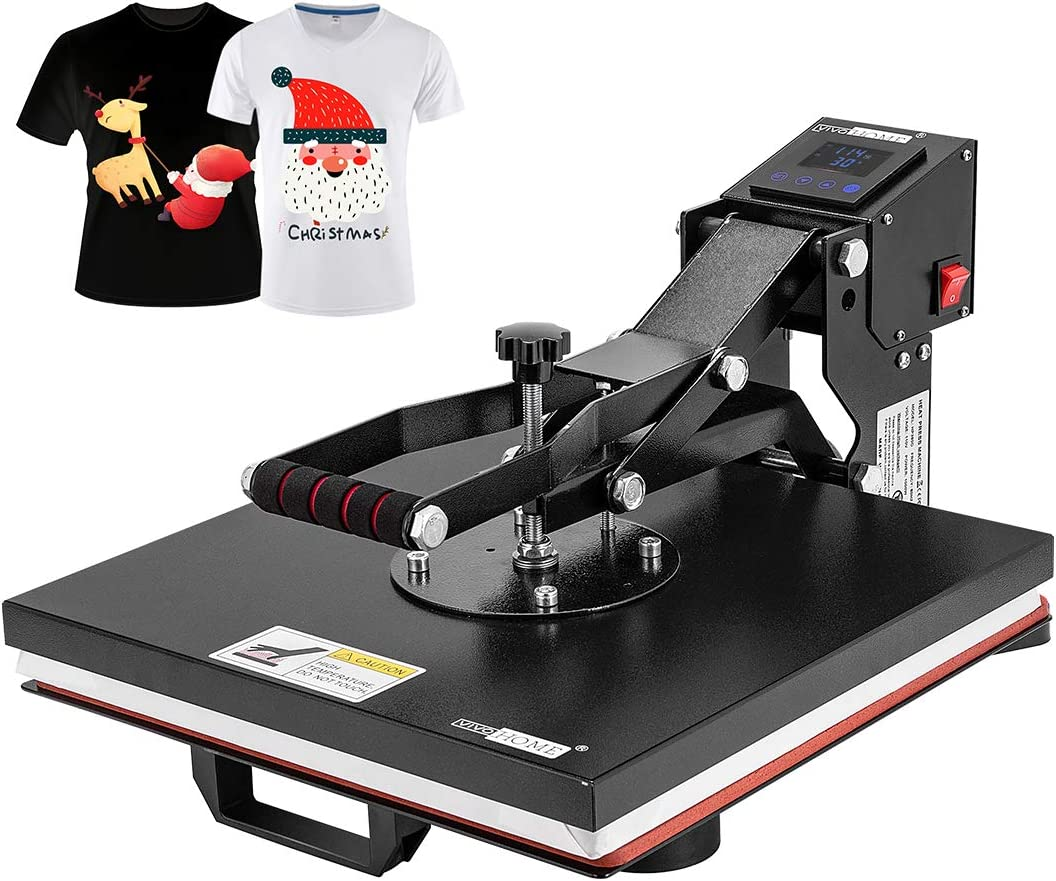VIVOHOME 15 x 15 Inch Industrial Household Digital Heat Press Printing Machine Clamshell Transfer Sublimation for T-Shirt Mouse Pad Phone Case