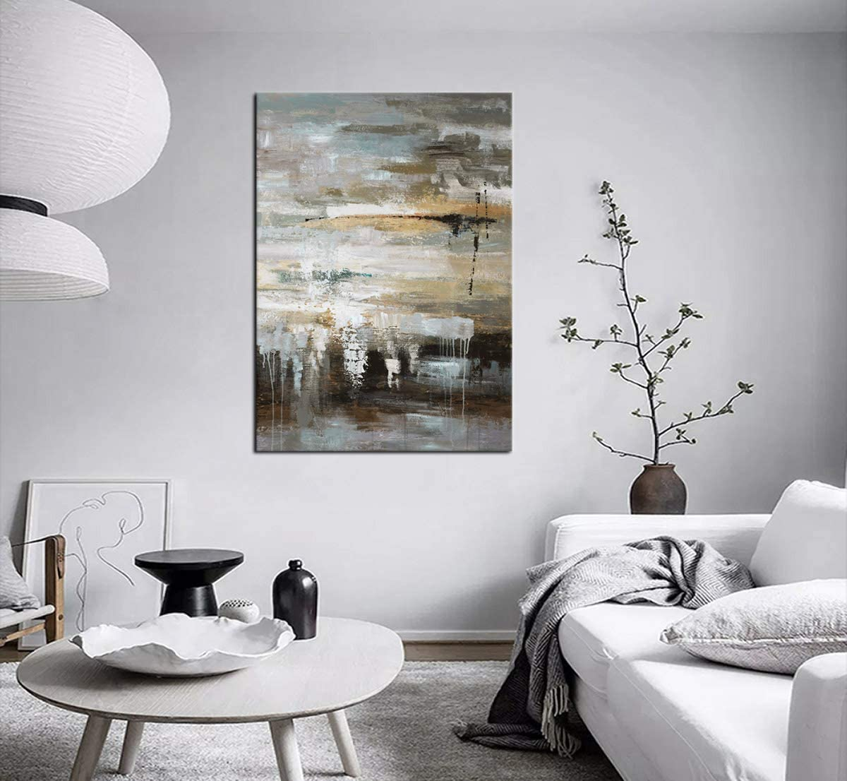 Large Abstract Wall Art Ocean Canvas Artwork Modern Brown Grey Abstract Landscape Retro Contemporary Canvas Pictures for Bedroom Bathroom Living Room Kitchen Office Home Decor Framed Ready to Hang 50 x 70cm