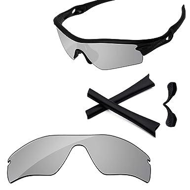 0bb0c15fc3e5 PapaViva Lenses Replacement & Rubber Kits for Oakley Radar Path Pro+ Chrome  Silver Polarized