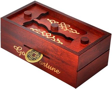 STOBOK Caja Puzzle Nuevo Grande marrón Caja de Joyas talladas ...