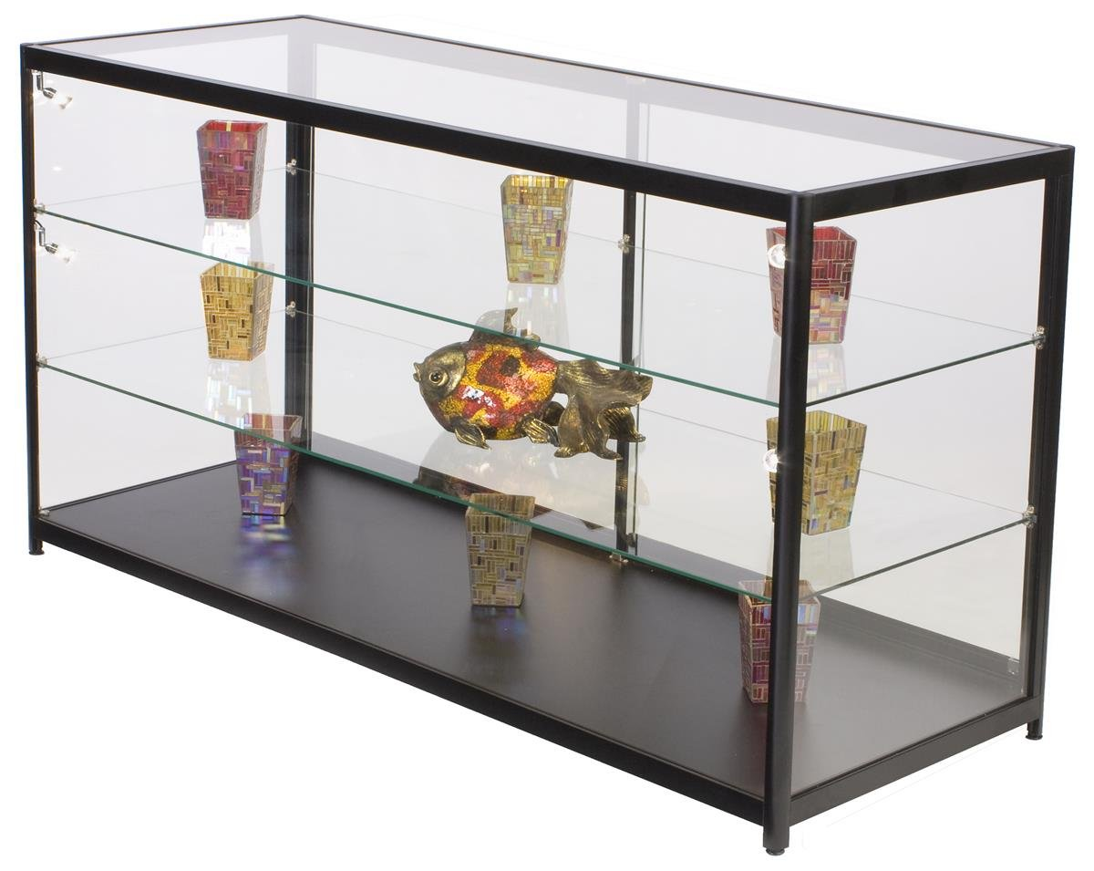 Displays2go 72'' w Glass Display Case, 4 LED Side Lights, Lockable, Ships Assembled - Black (IAPCT72LED)