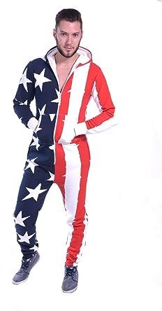 Juicy Trendz - Pijama de una Pieza - para Hombre USA Flag M ...