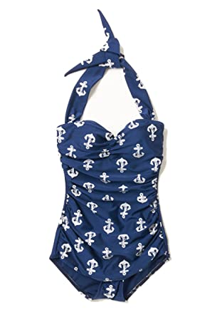 4fe2c3271bce6 Esther Williams 1950s One Piece Halter Swimsuit Nautical Navy Anchors Size  12