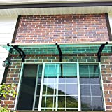 Window Awning Outdoor Polycarbonate Front Door Patio Cover Garden Canopy, Black Blackets Green Sheet, 1 Unit(47''Width / 50''Depth), PC1270