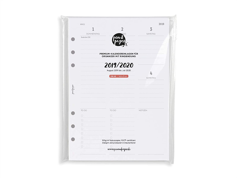 Din A5-6 L/öcher 1 Woche auf 2 Seiten 14,8 x 21 cm Spalten mit Uhrzeiten Uhrzeit Aufgaben pen /& pages/® 2019//2020 akademischer Kalender Januar bis Dezember Notizen A5 Organizer