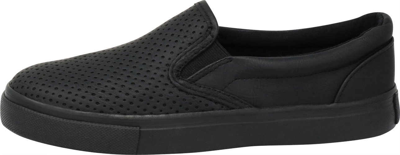 Cambridge Select Women's Slip-On Closed Round Toe Perforated Laser Cutout White Sole Flatform Fashion Sneaker B07F96Y8GQ 9 B(M) US|Black Pu/Black Sole