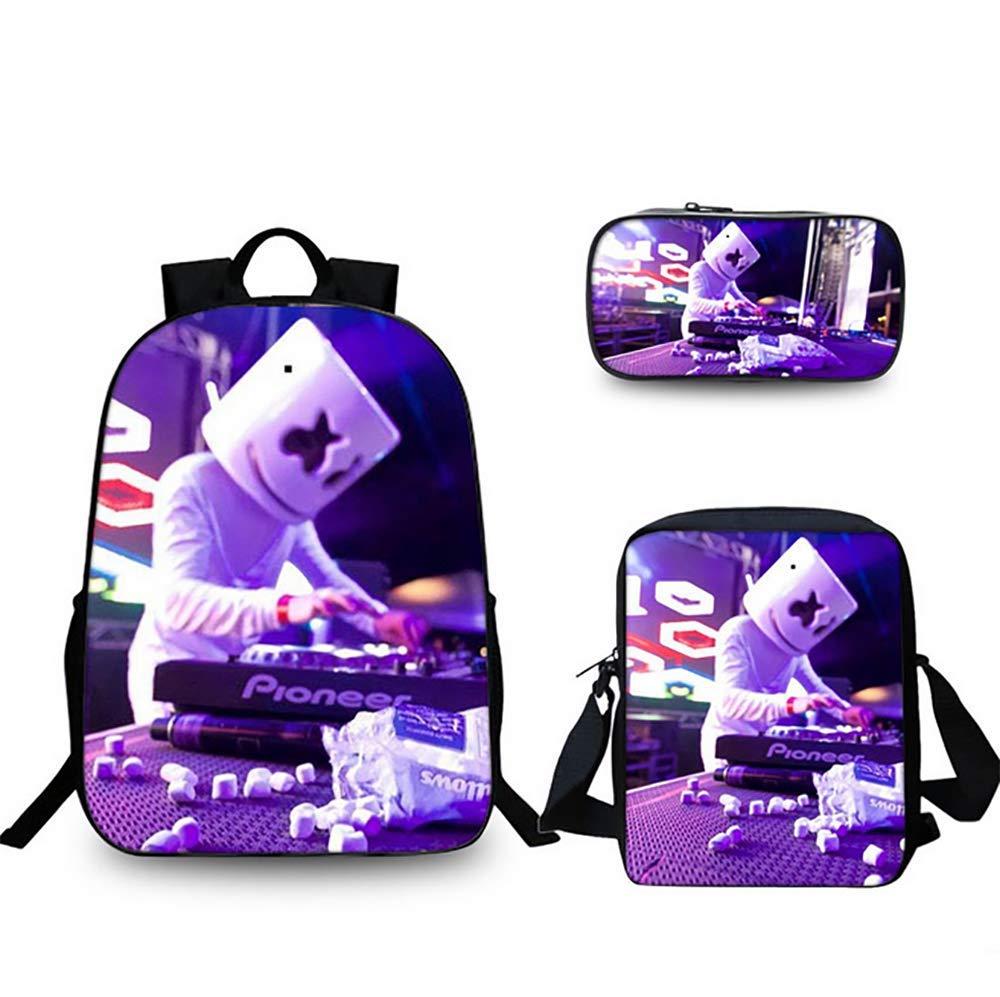 A SYDFJ DJ Marshmello Studentenrucksack 16 inch Lässige Büchertasche mit Umhängetasche und Bleistiftbeutel für Jungen und Mädchen