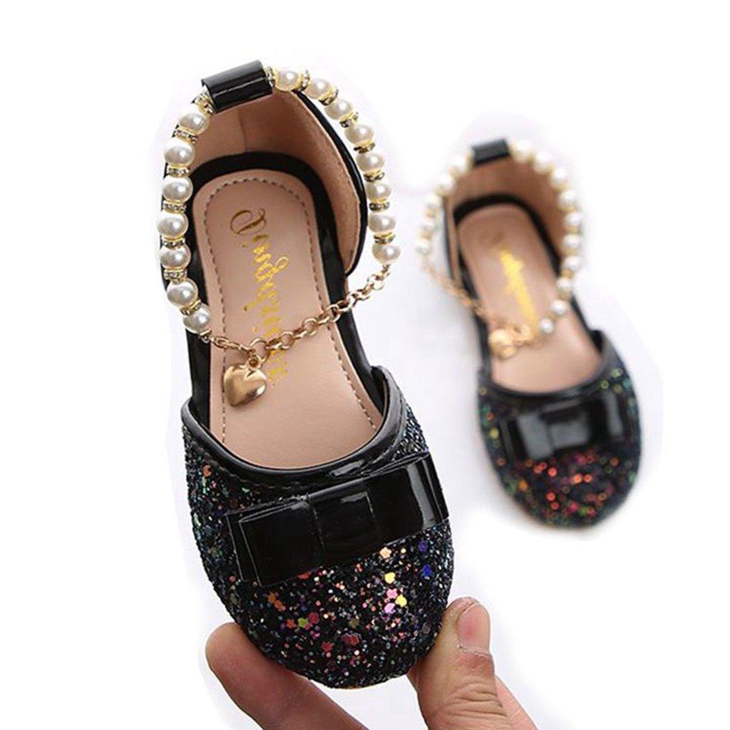 Girl's Mary Jane Dress Ballet Casual Pearl Bowknot Slip On Ballerina Flat Shoes(Toddler/Little Kid)