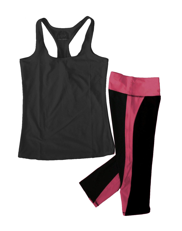 Women's Moisture Wick Athletic Yoga Tank Top & Racer Stripe Capri Leggings, Black and Raspberry, Small
