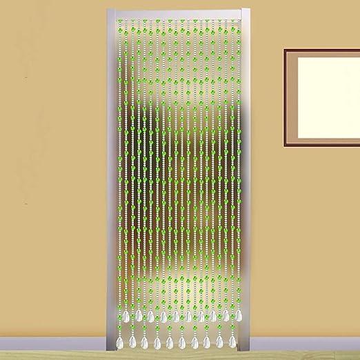 WENYAO Cortinas con Cuentas Cristal Cristal Colgantes Puerta Baño Cuarto de baño Divisor Cuerdas Colgantes Decorativas Personalizables (Color: Verde, Tamaño: 110x120cm): Amazon.es: Hogar