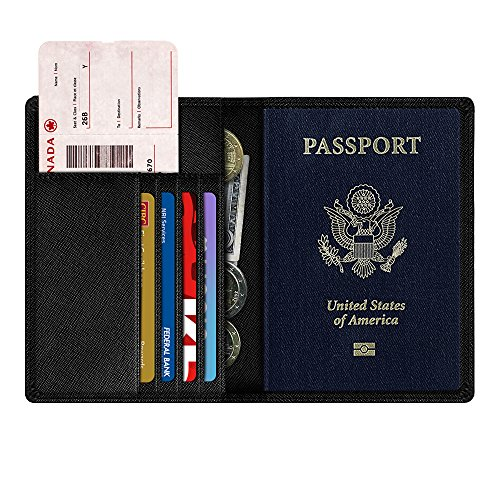 Passport Folio - NEXTKIN Passport Protector Wallet, Premium Leather RFID Blocking Travel Passport Holder Wallet Organizer Cover Case - Black