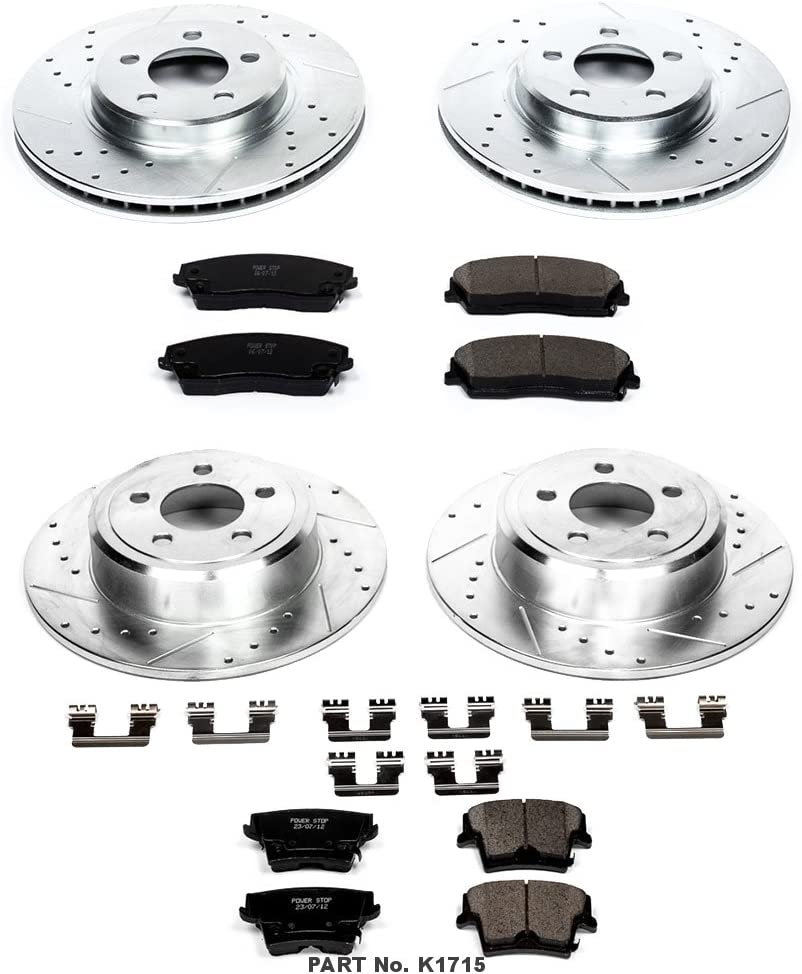 Power Stop K1155 Front and Rear Z23 Evolution Brake Kit with Drilled//Slotted Rotors and Ceramic Brake Pads