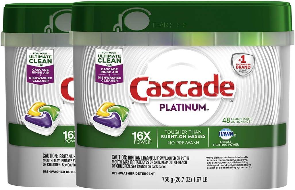 Cascade Platinum ActionPacs Lemon Scent Dishwasher Detergent, 48 Count (Pack of 2)