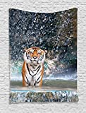 Natural Waterfall Decor Tapestry Wall Hanging by Ambesonne, Image of a Large Majestic Tiger in the Waterfall Exotic Wildlife Animal in Nature, Bedroom Living Room Dorm Decor, 60 W x 80 L Inches Multi