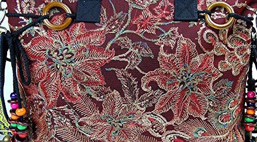 Sac Grande Sac cm de 46 Plage wealsex Toile à Bandoulière Paon Décontractés Femme de 32 Capacité Sacs Broderie 10 Main Cabas Rouge Fleur da1gwgYx