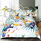 Sleepwish Palm Leaf Bedding 3 Piece Hawaiian Duvet Covers Tropical Woodpecker Bedspread Green Leaves Quilt Cover Full Size