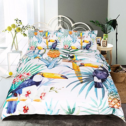 Hawaiian Kids Bedding (Sleepwish Tropical Woodpecker Pattern Kids Bedding Cover Sets Monstera Leaf Bedding 3d Vivid Hawaiian Floral Duvet Cover Set (Full))