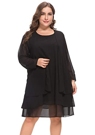 b18f8d9b28d MERRYA Women s Plus Size Business Chiffon Jacket Mother of The Bride Dress  Suit (Black