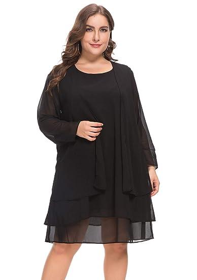 MISSJOY Women\'s Plus Size Business Chiffon Jacket Mother of The Bride Dress  Suit Black