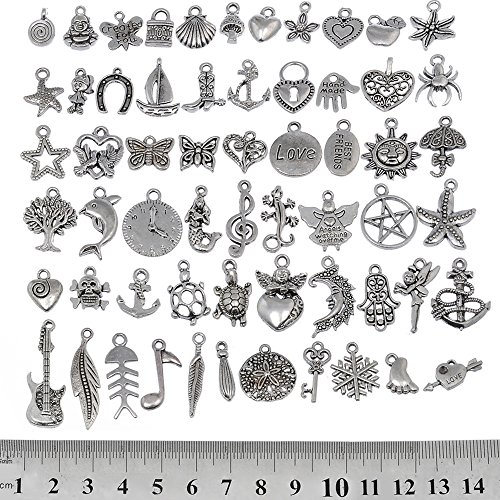 RUBYCA 120Pcs Wholesale Mixed Silver Color Charms Pendants for Bracelet, Jewelry Making Supplies, Just Like the Picture (Mix4)