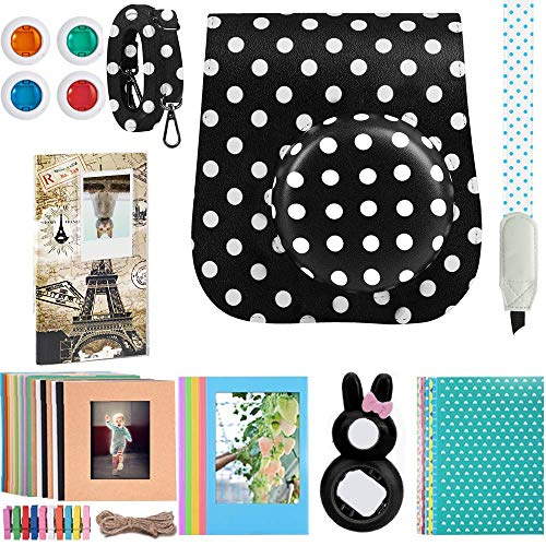 Katia Instant Camera Accessories Bundle Compatible for Fujifilm Instax Mini 9 / Mini 8+ / Mini 8 Instant Film Camera. Includes Camera Case, Album, Frame, Stickers, Strap,etc – Black&White dots