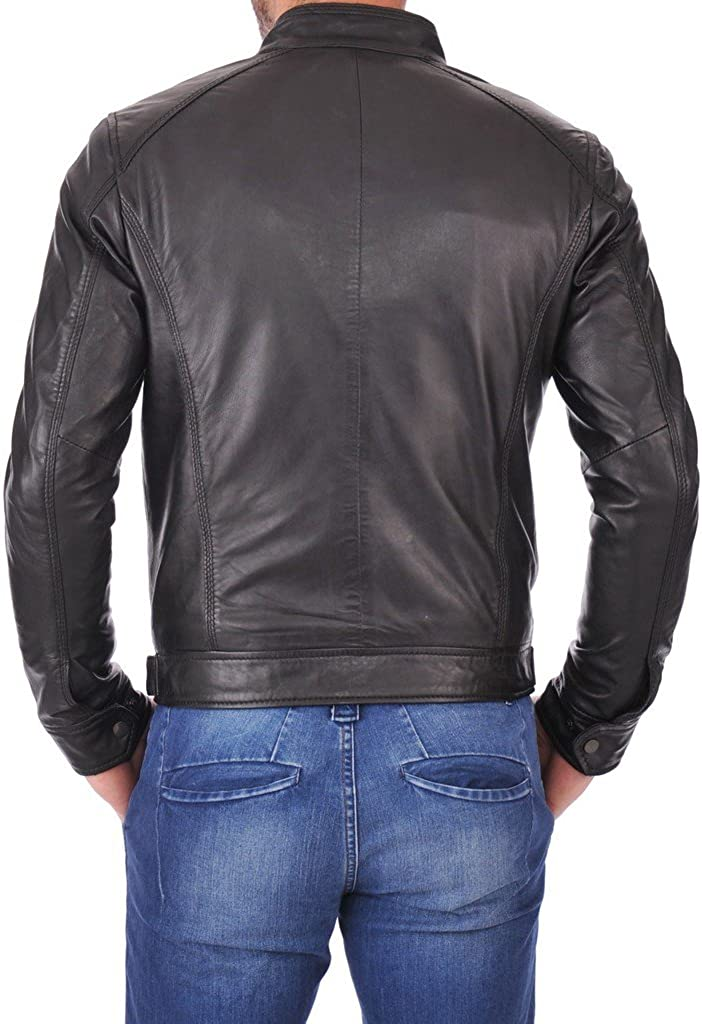 Prim leather Mens Lambskin Leather Bomber Biker Jacket