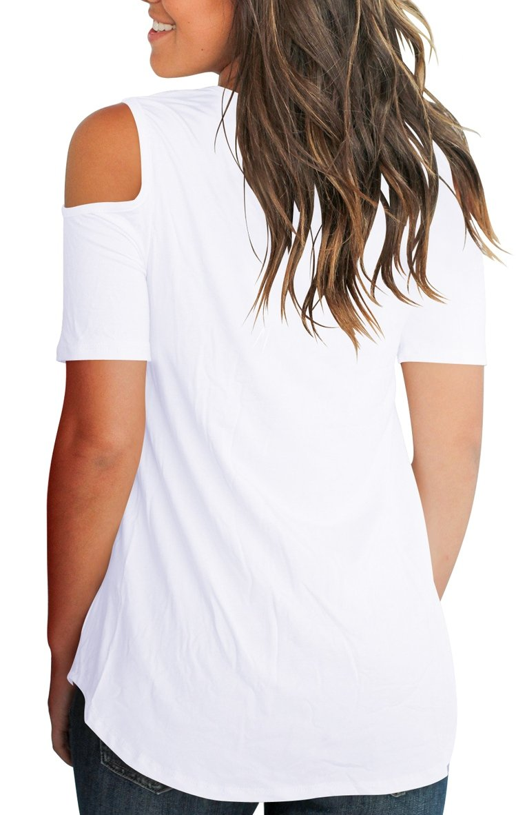 Smalnnie Cold Shoulder Tunic Tops for Women Plus Size 2018 Tee Shirts Cotton White 2XL by Smalnnie (Image #5)