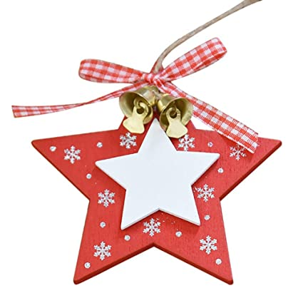 Christmas Decorations Wooden Tree Heart Five Pointed Star Shaped Bell Pendant Ornament