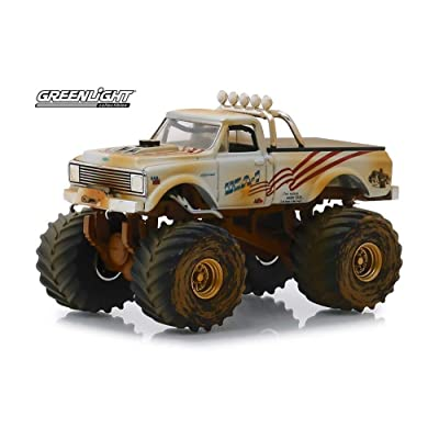 King of Crunch 1970 Chevy K-10 Monster Truck, USA-1 (Dirty Version) - Greenlight 49040/48 - 1/64 Scale Diecast Model Toy Car: Toys & Games