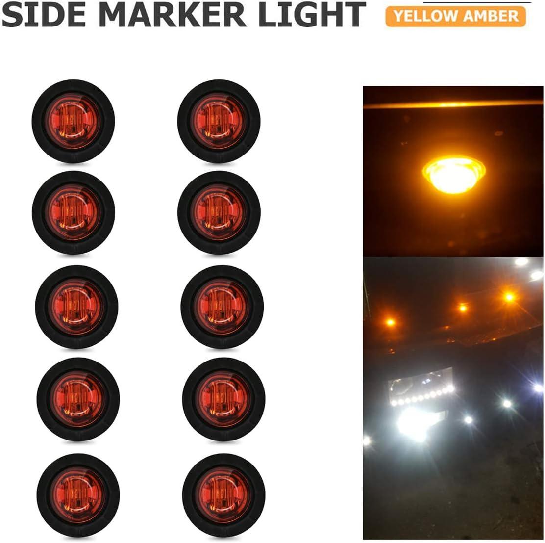 YUGUIYUN 10pcs LED Luces de Marcador Lateral, Auto 3 LED 3/4