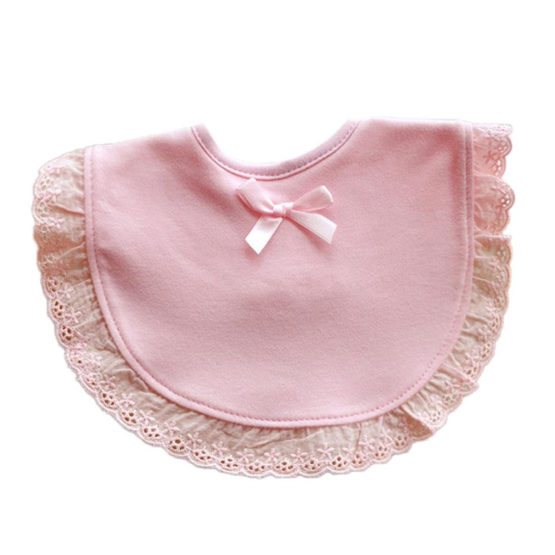 Festwolf Newborn Bibs Feeding Bowknot Lace Cotton Saliva Towel Pink White NO-589