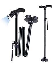 LED Folding Walking Stick, Ohuhu Folding Walking Cane Walking Stick With Adjustable LED Lights Carrying Bag For Men / Women