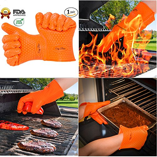Design Bbq Mitt - Heat Resistant Oven Gloves With Total Fingers - BBQ Grilling Mitt With Non-Slip Grip Design - One Size Fits All - Made From Food Grade Silicone - Insulated And Waterproof - Hand And Wrist Protection