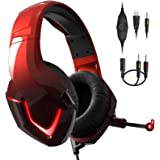 INHANDA PS4 Headset with Mic,K19 Gaming Headset Xbox One Headset with Mic,Noise Cancelling,Memory Foam Earmuffs,LED Light,Gam
