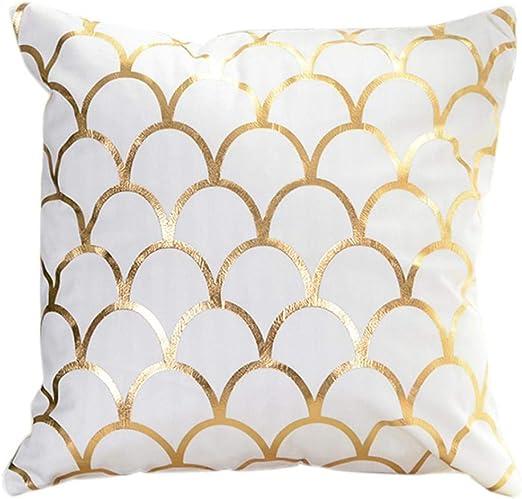 Gold Art Polyester Pillow Case Sofa Waist Cushion Cover Home Decor