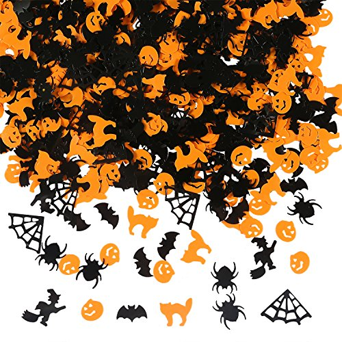 Aneco 150g/ 6000 Pieces Halloween Confetti Pumpkin Spider Bat Witch Cat Sprinkles Table Confetti Bright Halloween Night Decoration (Halloween Pumpkin Cat Faces)
